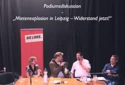 """Die Debatte """"Mietenexplosion-Widerstand Jetzt"""" im Ostpassage-Theater an der Eisenbahnstraße. Foto: Videoscreen L-IZ.de"""