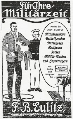 Werbeanzeige in den Leipziger Neuesten Nachrichten während des I. Weltkrieges. Bild: Stadtarchiv Leipzig