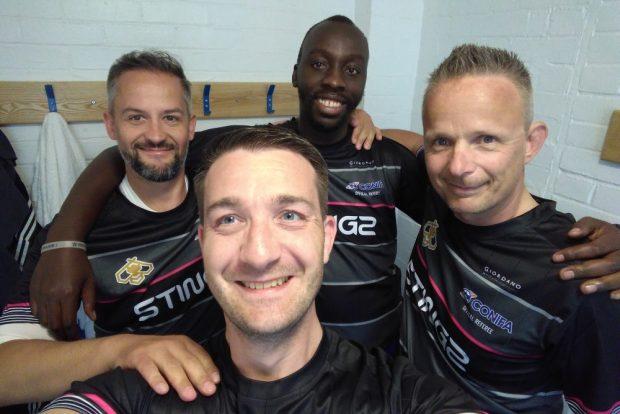 Der Leipziger Schiedsrichter René Jacobi (vorn) mit seinem Team - Martin Rauh, Raymond Mashamba und Dennis Wall (v.l.). Foto: ConIFA