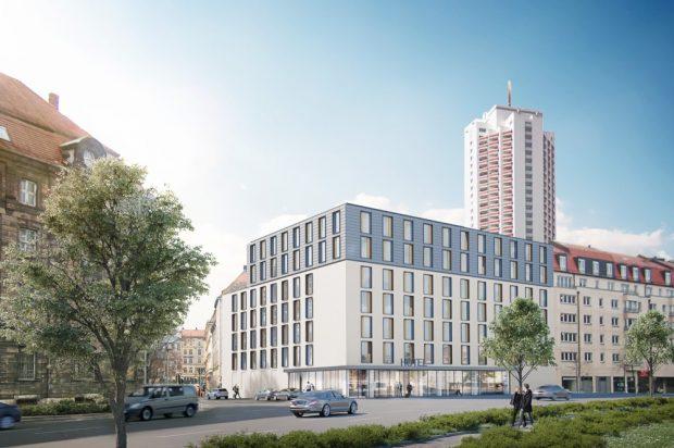 2019 bezugsfertig: Das Hotel am Hauptbahnhof Leipzig. Foto: STRABAG Real Estate GmbH
