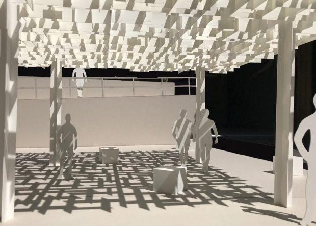 Entwurf für das Schattendach am Zwenkauer Hafen. Visualisierung: Architekturbüro KNOCHE ARCHITEKTEN BDA, Leipzig