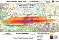 Fluglärmbelastung am Tag am Flughafen Leipzig / Halle. Karte: Freistaat Sachsen, LfULG