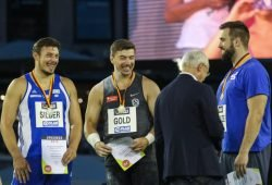 Die Medaillengewinner haben gut Lachen: Patrick Müller (Neubrandenburg), David Storl (Leipzig) und Tobias Dahm (Sindelfingen) - v.l. Foto: Jan Kaefer