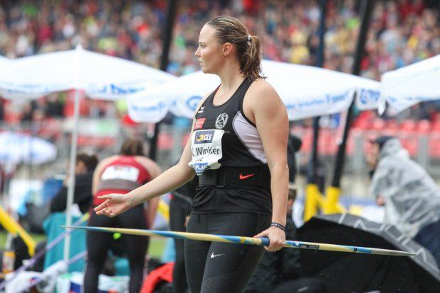 Christine Winkler (DHfK) im Speerwurf-Finale. Foto: Jan Kaefer