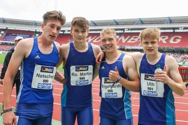 Die 4 x 400 Meter-Staffel der StG Leipzig: Fabian Netscher, Rocco Martin, Eric Engelhardt, Niklas Uth. Foto: Jan Kaefer