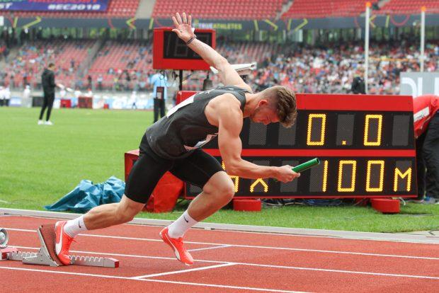 Ole Werner geht als Startläufer für die 4 x 100 Meter-Staffel des SC DHfK ins Rennen. Foto: Jan Kaefer