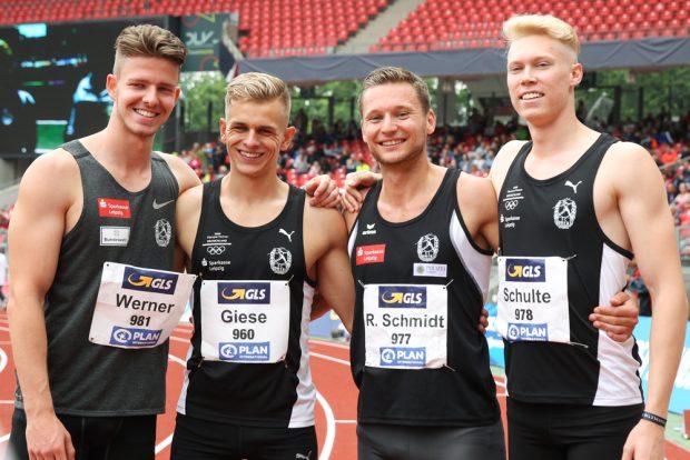 Die DHfK-Silber-Staffel mit Ole Werner, Niels Torben Giese, Roy Schmidt und Marvin Schulte. Foto: Jan Kaefer