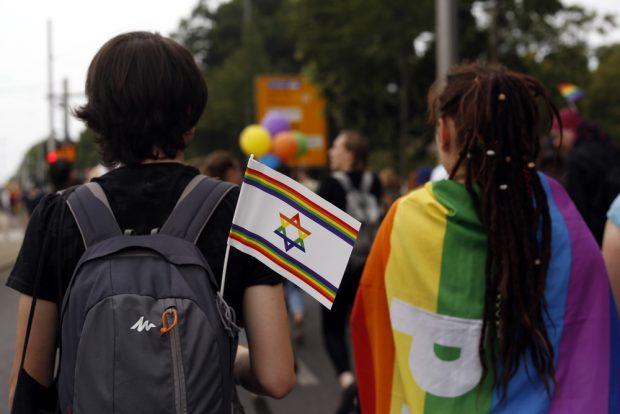 Die Fähnchen der deutsch-israelischen Gesellschaft erfreuten sich großer Beliebtheit. Foto: Alexander Böhm