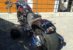 Die gesuchte Harley Davidson. Foto: Polizeidirektion Leipzig