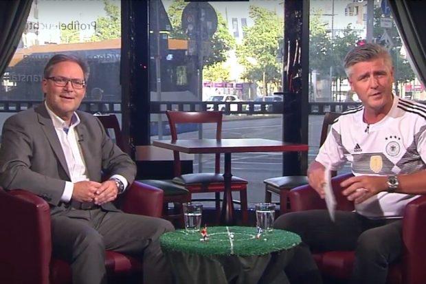 Sachsens Fußballverbands-Präsident Hermann Winkler und Norman Landgraf (Heimspiel TV) im Sommerinterview. Foto: Videoscreen