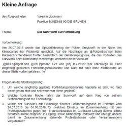 Ebenfalls mit einer kleinen Anfrage an die Landesregierung unterwegs: Valentin Lippmann (B90/Die Grünen). Screen Twitter