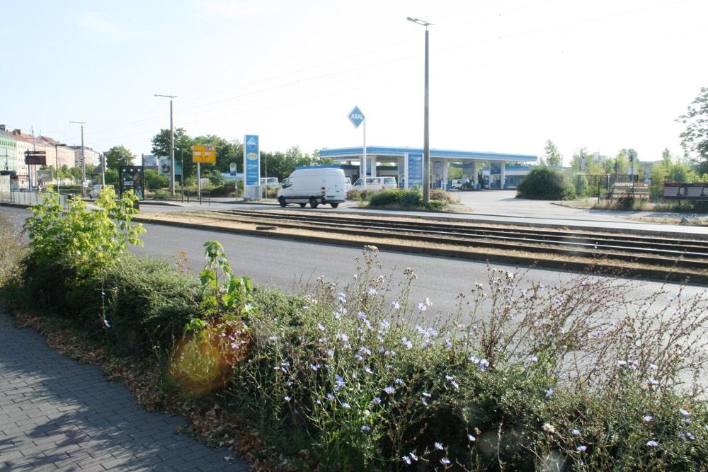Die Tankstelle auf dem Gelände des Freiladebahnhofs. Foto: Ralf Julke