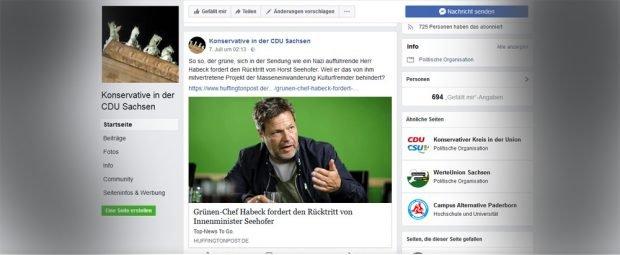 """Post zu Robert Habeck auf dem Facebook-Account """"Konservative in der CDU Sachsen"""". Screenshot: L-IZ"""