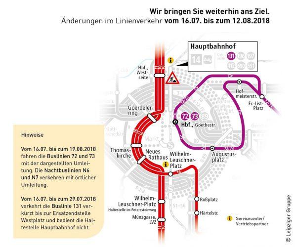 Die Umleitungen für Straßenbahnen und Bus. Grafik: LVB