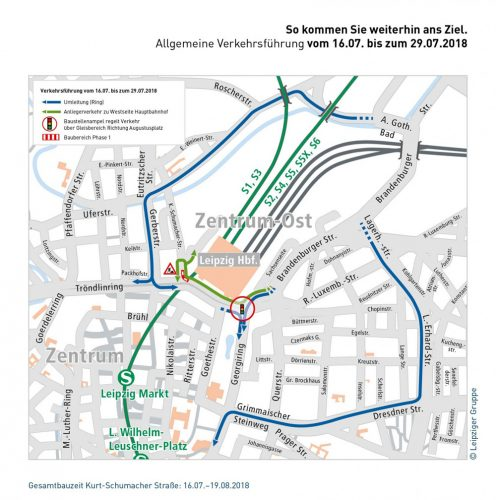 Die Umleitungen für den Kfz-Verkehr. Grafik: LVB