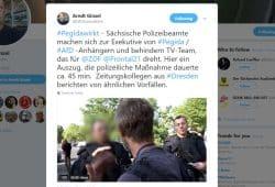 Arndt Ginzel wurde in Dresden von Polizisten festgesetzt. Screenshot L-IZ.de von twitter.com/GKDJournalisten
