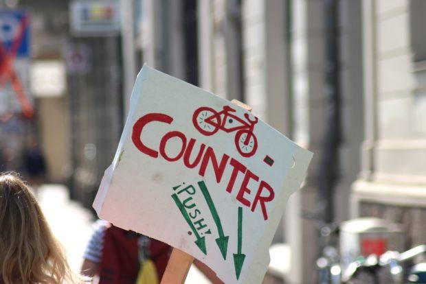 Ein Counter zum Zählen der Radfahrer. Foto: Michael Freitag