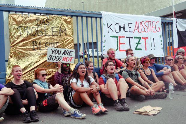 Protestaktion am Kraftwerk Lippendorf: Kohle(er)Setzen. Foto: L-IZ