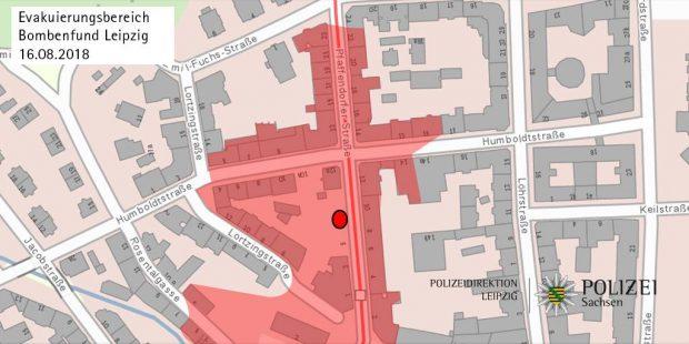 Die Lage der Fliegerbombe laut Polizeiangaben. Quelle: Twitter Polizei Sachsen