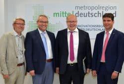 Projektleiter Werner Bohnenschäfer, Landrat Götz Ulrich, Bundesminister Peter Altmaier, Landrat Henry Graichen. Foto: Rainer Justen