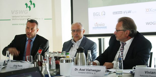 ressekonferenz mit Wolf-Rüdiger Kliebes (LVW), Jörg Keim (WBG kontakt) und Axel Viehweger (VSWG). Foto: Ralf Julke