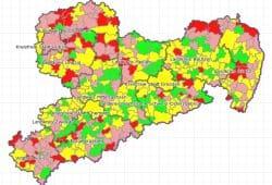 Digitale Karte zur Haushaltslage der Kommunen. Karte: Freistaat Sachsen, Geoportal