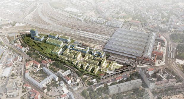 So könnte das neue Stadtquartier am Hauptbahnhof aussehen. Visualisierung: RKW Architektur + / bgmr Landschaftsarchitekten / moka-studio