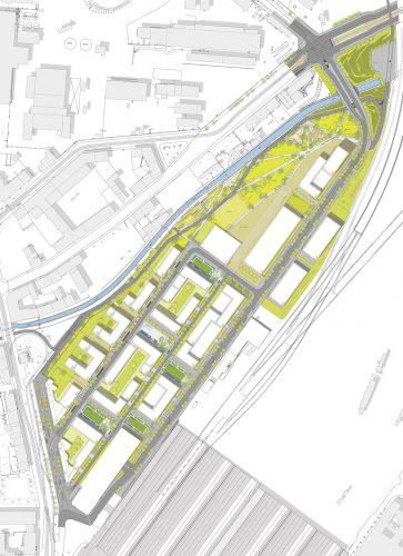 Städtebaulicher Planentwurf für das Gelände westlich des Hauptbahnhofs. Visualisierung: RKW Architektur + / bgmr Landschaftsarchitekten / moka-studio