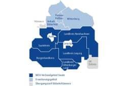 Die Abbildung zeigt schematisch das heutige Verbundgebiet des MDV sowie die geplante Verbunderweiterung ab Dezember 2019. Grafik: Stadt Leipzig