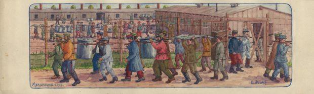 Transport der großen Suppentöpfe im Merseburger Kriegsgefangenenlager, Aquarell von Emile Oudart 1917. Foto: Maxime Spora, Paris