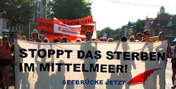 Demonstration am 4. August in Leipzig. Foto: Seebrücken-Initiative Leipzig