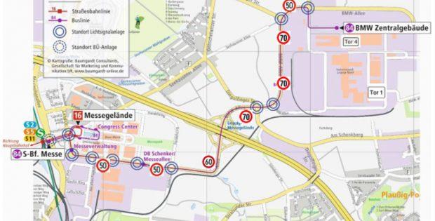 Die geplante Teststrecke zwischen Messe und BMW-Werk. Karte: Stadt Leipzig