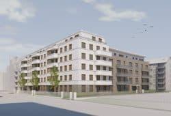 Visualisierung des UNITAS-Neubaus in der Salomonstraße 14-16a. Quelle: S&P Sahlmann GmbH Leipzig