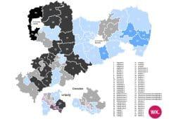 Prognose für die Direktmandate bei der Landtagswahl 2019 in Sachsen. Karte: Wahlkreisprognose.de