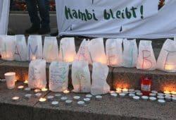 Mit einer Mahnwache waren am 24. September 350 Menschen in Gedanken bei den Waldbesetzern im Hambacher Forst. Foto: L-IZ.de