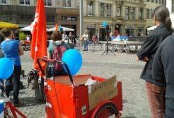 Kundgebung zum Weltfriedenstag auf dem Leipziger Marktplatz. Foto: René Loch