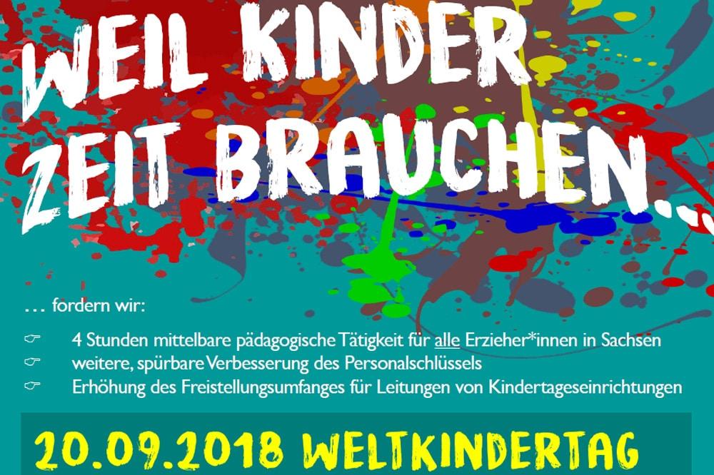 """Einladung zur Kita-Demo. Plakat: Graswurzelbündnis """"Die bessere Kita"""""""