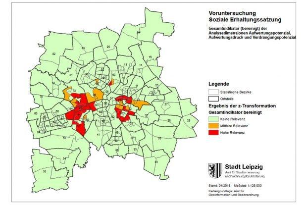 Relevanz für eine Soziale Erhaltungssatzung. Karte: Stadt Leipzig