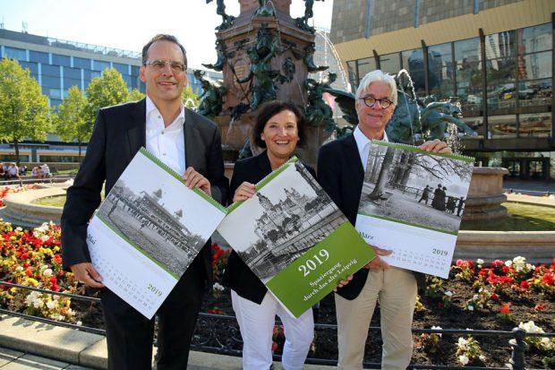 Vorstellung des neuen Leipzig-Kalenders: Volker Bremer, Marit Schulz und Volker Rodekamp. Foto: LTM, Andreas Schmidt