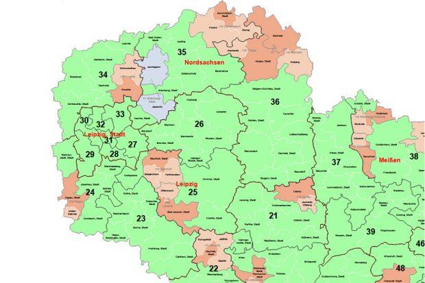 Wahlkreiseinteilung zur Landtagswahl 2019. Karte: Freistaat Sachsen, Landesamt für Statistik