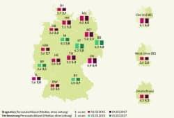 Kita-Betreuungsrelation nach Bundesländern 2015 und 2017. Grafik: Bertelsmann Stiftung