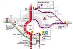 Umleitungen für die Straßenbahn. Grafik: LVB