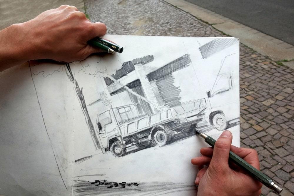 Zeichnen im urbanen Raum. Foto: Johan Schaefer