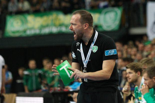 DHfK-Trainer André Haber ließ den Emotionen freien Lauf. Foto: Jan Kaefer