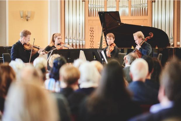 Das Čiurlionis-Streichquartett gespielt von Musiker aus Litauen, Serbien, Dänemark und Norwegen (v. l.n.r.) in der HMT, dem Ort seiner Entstehung, Foto: Daniel Reiche