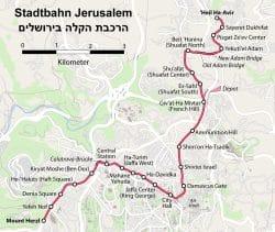 Die Linie der Stadtbahn Jerusalem. Bild: Karte Stadtbahn Jerusalem