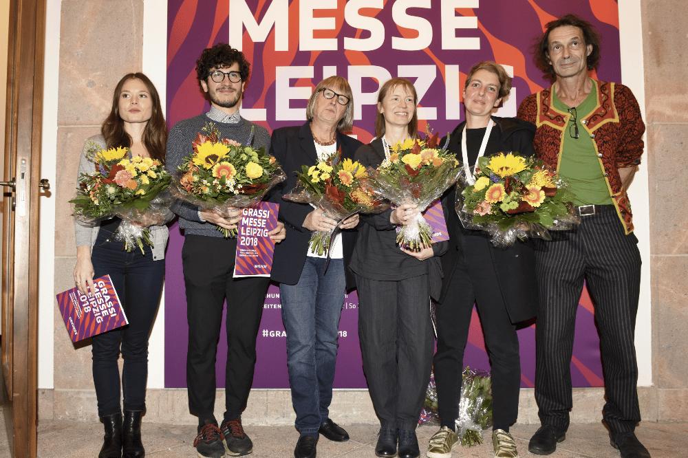 Grassimesse 2018, Preisträger v.l.n.r. Jil Köhn, Christian Andrés Parra Sánchez, Angela Schönwald, Antje Dienstbir, Isabelle Enders, Ludwig Menzel, Foto: Karola Bauer