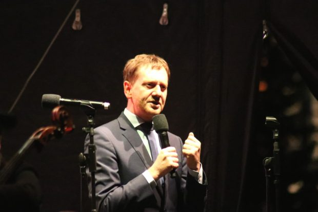 Michael Kretschmar auf der Bühne in Leipzig. Foto: L-IZ.de