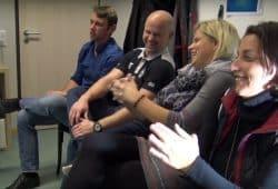Die Liveshow von heimspiel Tv: Hier ua. (vlnr) Jan Benzin, Sven Gerike und Heike Fischer. Screen: Video Sportpunkt
