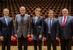 Die Preisträger 2018 (v.l.n.r.): Dr. Andreas Reinhold, Dr, Jürgen Loll, Cornelia Günther, Jamshid Moghimi, Winfried Pinninghoff. Quelle: Robert Weinhold HTWK Leipzig